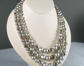 Vintage 60s Japan Multi Strand Faux Pearl  Necklace Jewelry