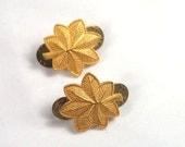 Vintage 70s Major Insignia Military Shoulder Oak Leaf Pins Jewelry