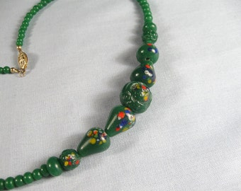 Vintage 30s Green Art Glass Choker Necklace Jewelry