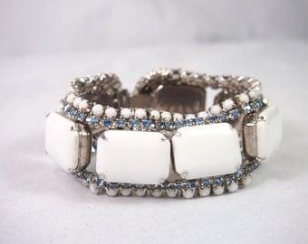 Vintage 40s 50s Wide Chunky White and Blue Rhinestone Bracelet Jewelry