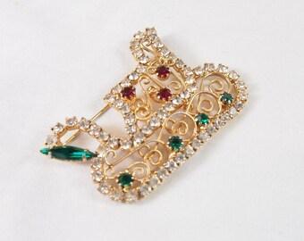 Vintage 50s 60s Rhinestone Santa Sleigh Christmas Brooch Jewelry