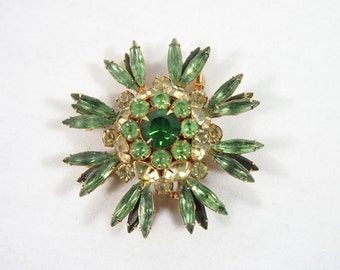 Vintage 40s 50s Judy Lee Green Rhinestone Brooch Jewelry
