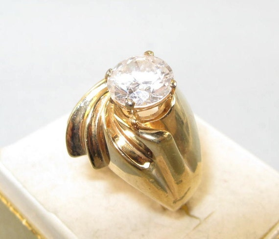 Vintage 80s Solitaire Ridged Sterling Silver Vermeil Ring Jewelry Sz 5