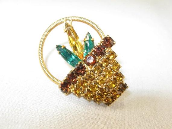 Vintage 50s Rhinestone Flower Basket Brooch Jewelry