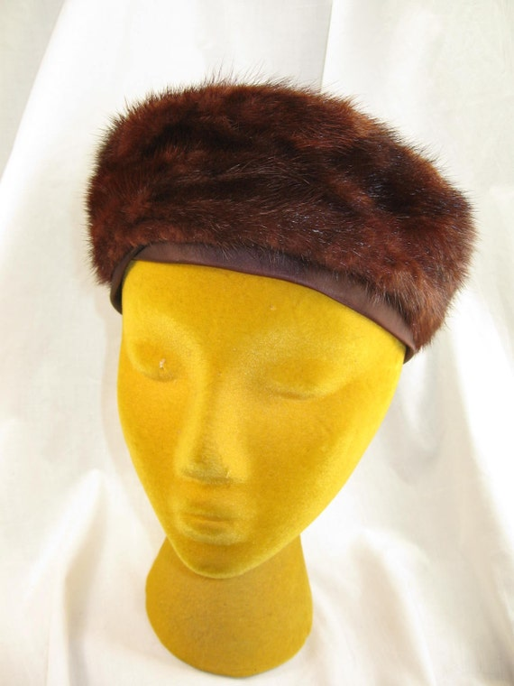 Vintage 50s Brown Mink Fur Pill Box Hat