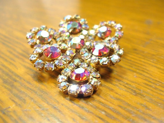 Vintage Rhinestone Brooch 40s 50s Aurora Borealis Jewelry