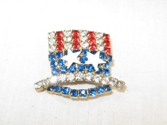 Vintage Uncle Sam Patriotic Hat Brooch 70s Jewelry