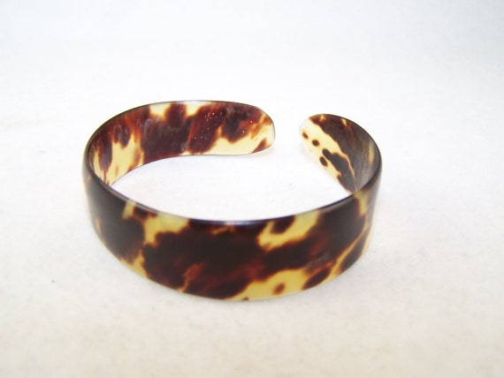 Vintage old real tortoise shell cuff bangle bracelet for Real tortoise shell jewelry