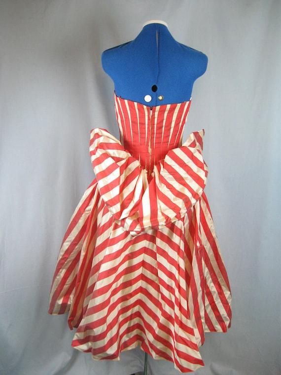 Vintage 50s Frank Starr Organdy Red Stripe Party Dress Full Skirt