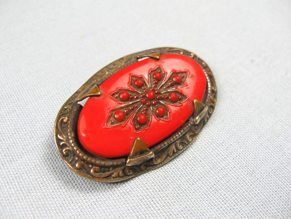 Vintage 20s Art Deco Red Glass Brooch Jewelry