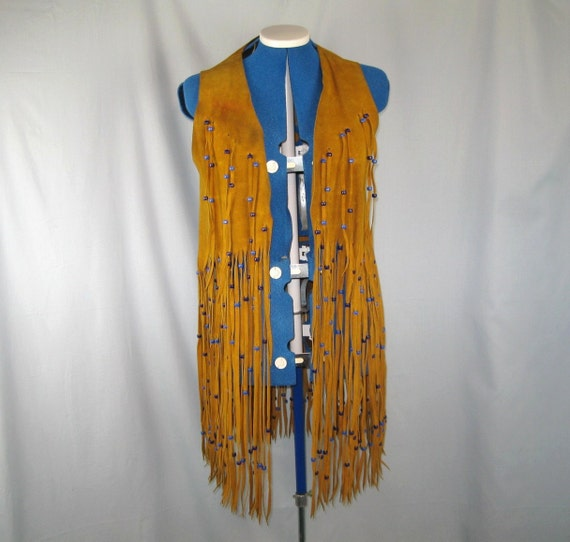 Vintage 60s 70s Hippie Leather Suede Beaded Fringe Vest Marty Clothing