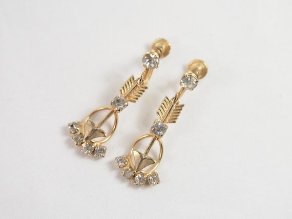 Vintage 40s 50s Gold Tone Rhinestone Arrow Dangle Earrings Jewelry