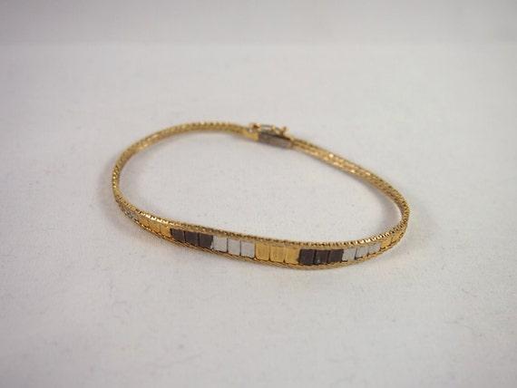 Vintage 80s Sterling Silver Multi Gold Color Vermeil Mesh Bracelet Jewelry