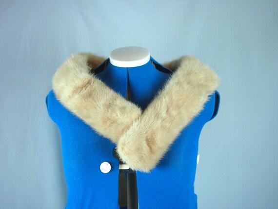 Vintage 50s 60s Blonde Mink Fur Scarf Collar for Sweater or Coat