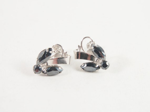 Hematite 50s Sterling Silver Earrings Jewelry Signed Crystal Creations