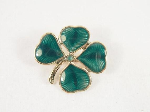 Shamrock Green Enamel 60s Brooch Vintage Jewelry Lucky