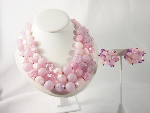 Germany Plastic 40s Pink Necklace Earring Set Vintage Jewelry