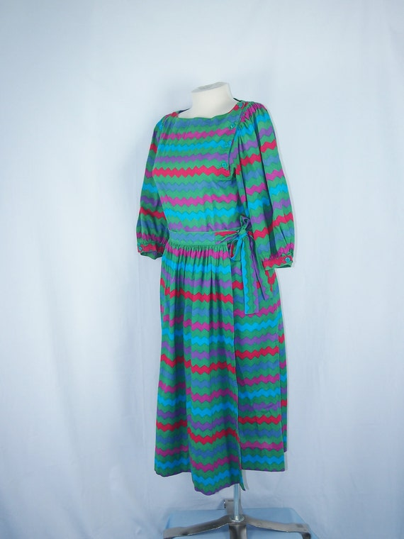 ZigZag Print 80s Wrap Skirt and Top Outfit Vintage Clothing