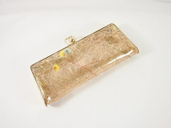 Clear Plastic Flowers and Gold Metallic 60s Vintage Eyeglass Case