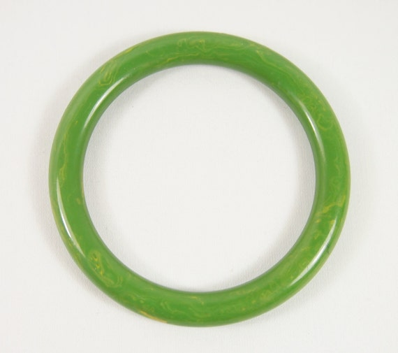 Bakelite Green Gold Swirl Plastic 40s Bangle Bracelet Vintage Jewelry