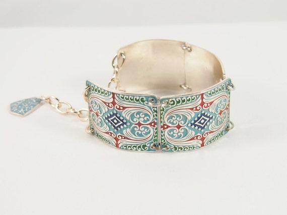 Enamel Link West Germany 60s Bracelet Vintage Jewelry