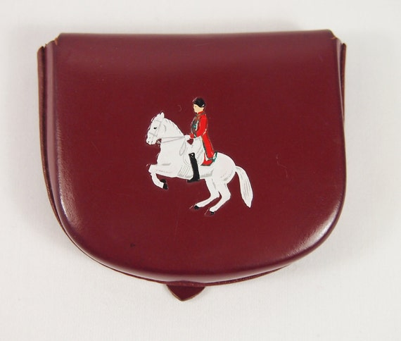 Embossed Horse Leather Fold Over Coin Change Vintage 50s Purse