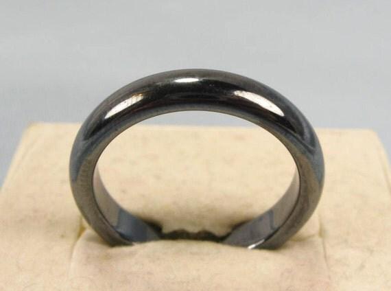 vintage 70s 80s polished hematite wedding band ring jewelry sz