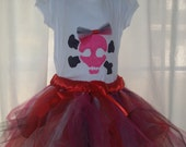 Pirate Princess Tutu Halloween Costume T-shirt and Hair-Bow size 5\/6