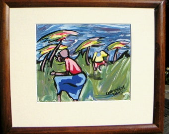 Vintage African Expressionist Figural Painting