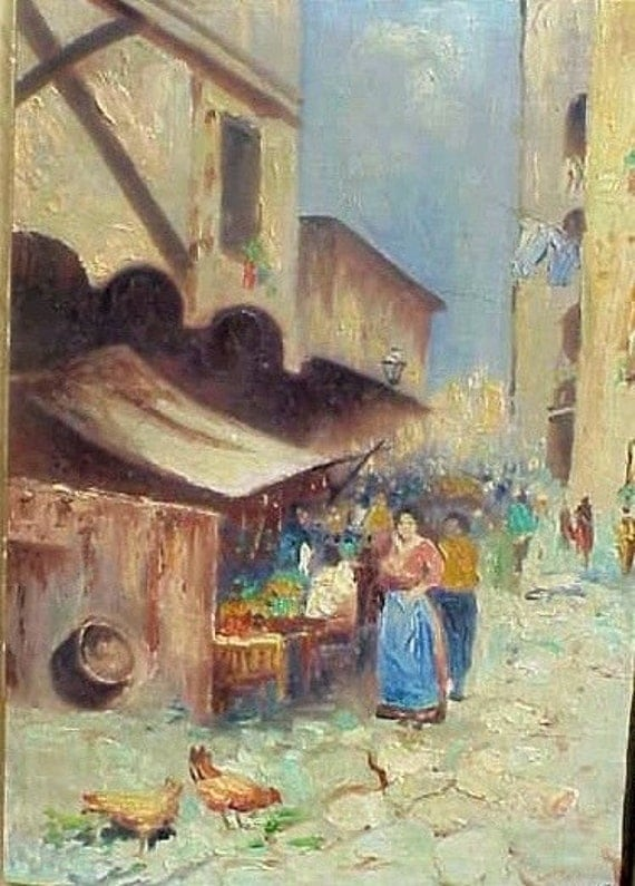 Vintage Naples Italy Oil Painting