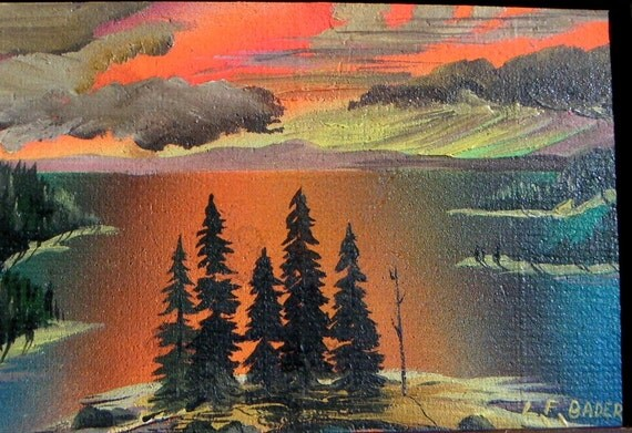 Vintage California Tahoe Expressionist Painting signed