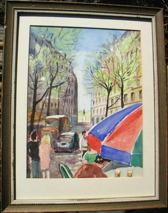 Paris Cafe 1960s  painting