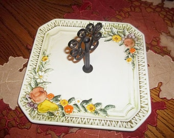 Vintage Lefton Serving Tray with Handle - Fall Colors - Party Tray- Centerpiece  - Holiday Party