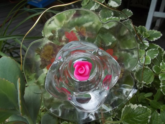 Handmade spark recycled garden yard art glass flower - Recycled glass garden art ...