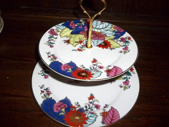 Special Order for Rienore - Oriental 2 Tier Floral Serving Tray - Crudites - Party Tray - Hors doeuvres - Centerpiece