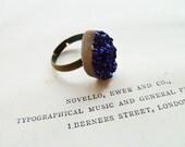 Shimmering Deep Blue Galaxy Druzy Ring