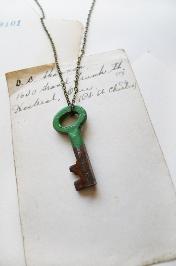 Antique 1800s Skeleton Key Necklace Dipped In Kelly Green