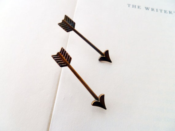 Detailed Brass Arrow Stud Earrings