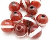 Carnelian dZi bead - Round shape with Line --10mm (10 pcs)- SKU:302115