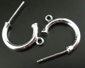 Earring Findings, Earring Hooks,Sterling Silver Earwire - Single C Shape Earring Hoops- Strong Hoops - 14mm ( 2 pieces, 1 pair ) 203004
