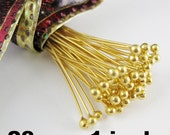 Headpins-Fancy, Big Ball Head Pins, Vermeil, 24k Gold Plated over Sterling Silver Headpins-  ball end 28ga,1 inch  25 mm ( 25 pieces ) HP28