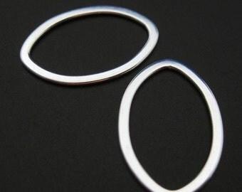 Sterling Silver Findings - Big Flat Oval shape pendant or link charm ( 21 mm - 2 pcs) SKU: 201040