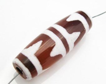 Carnelian dZi bead - Olive Shape with Tiger Tooth Totem-30mm by 10 mm (1 pcs) - SKU:302010