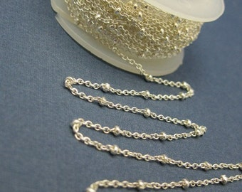 Sterling silver chain - Cable oval link with tiny ball - Beaded Ball Satellite Chain (12 feet ) SKU: 101006