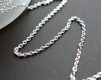925 Sterling Silver Chain-Beading Chain-Unfinished Bulk Chain-Jewelry Making Chain-Tiny Plain Cable Oval-Cable Chain (10 feet)-SKU: 101009