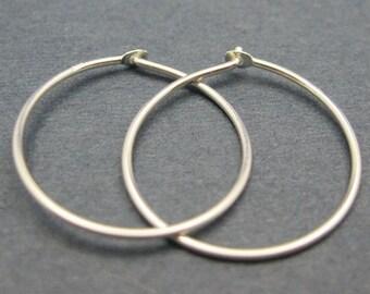 Sterling Silver Earrings Hoops-  Simple Round Hoops - Hoop Earrings, Small Hoops, Earwire Hoops, 19mm ( 4 pcs - 2 pairs )- SKU: 203020-19MM