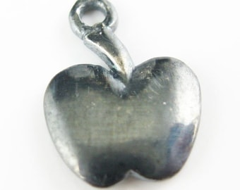 Oxidized Sterling Silver Findings - Cute Tiny Apple Charms ( 12 by 8 mm - 5 pcs)