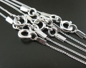 Sterling Silver Necklace - Sterling Silver Chain Necklace - Sterling Silver Tiny Curb Chain - 16 inches ( 1 pcs) - SKU: 601001
