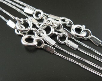 925 Sterling silver - Tiny Curb - Long Necklace- Finished Necklace for Pendant,Chains, Read to Wear - 26 inches ( 1 pcs)  - SKU: 601001