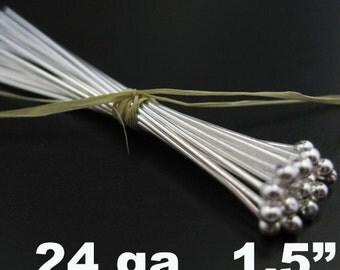Headpins-Sterling Silver Headpins - Ball end Head Pins - 24ga,1.5 inch  37mm -Jewelry Making Supplies( 50 pieces ) SKU: 204403-2415 HP24